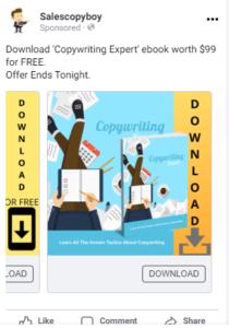 facebook carousel ad for copywriting ebook download