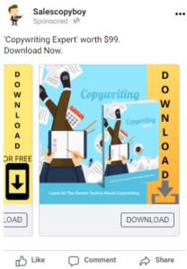 Facebook carousel ad copy for copywriting ebook