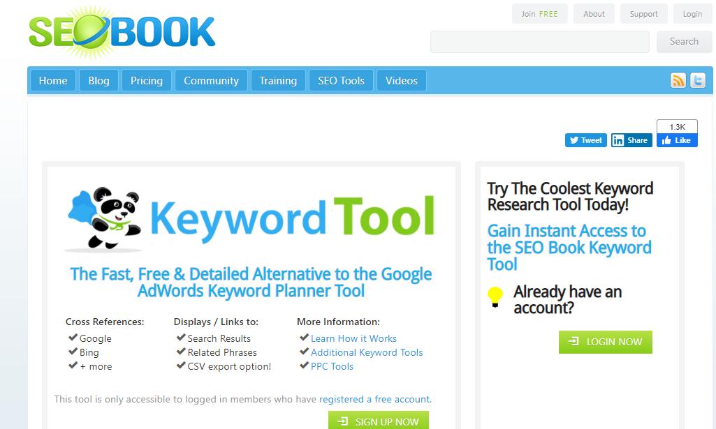 SEO book, an SEO analysis tool