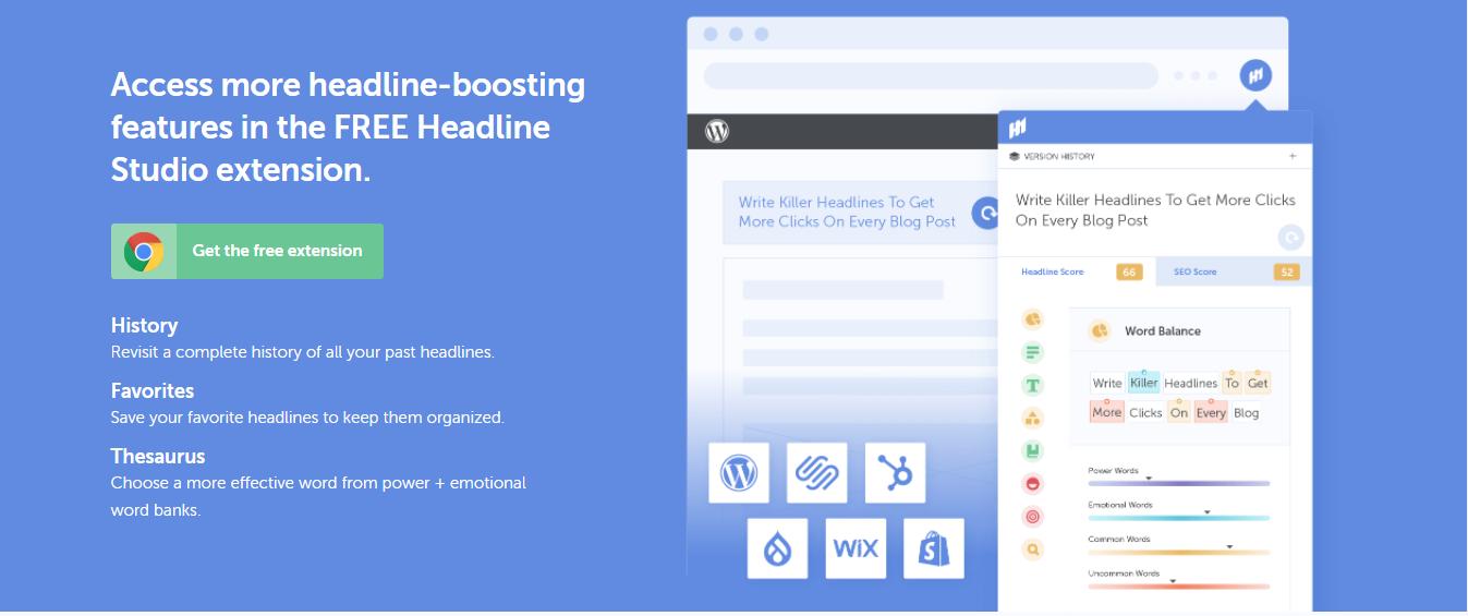 Screenshot of headline studio's chrome extension