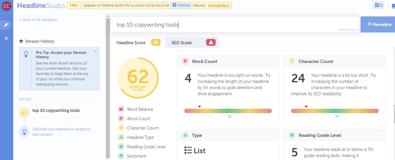 Headline analysis for the headline top 10 copywriting tools