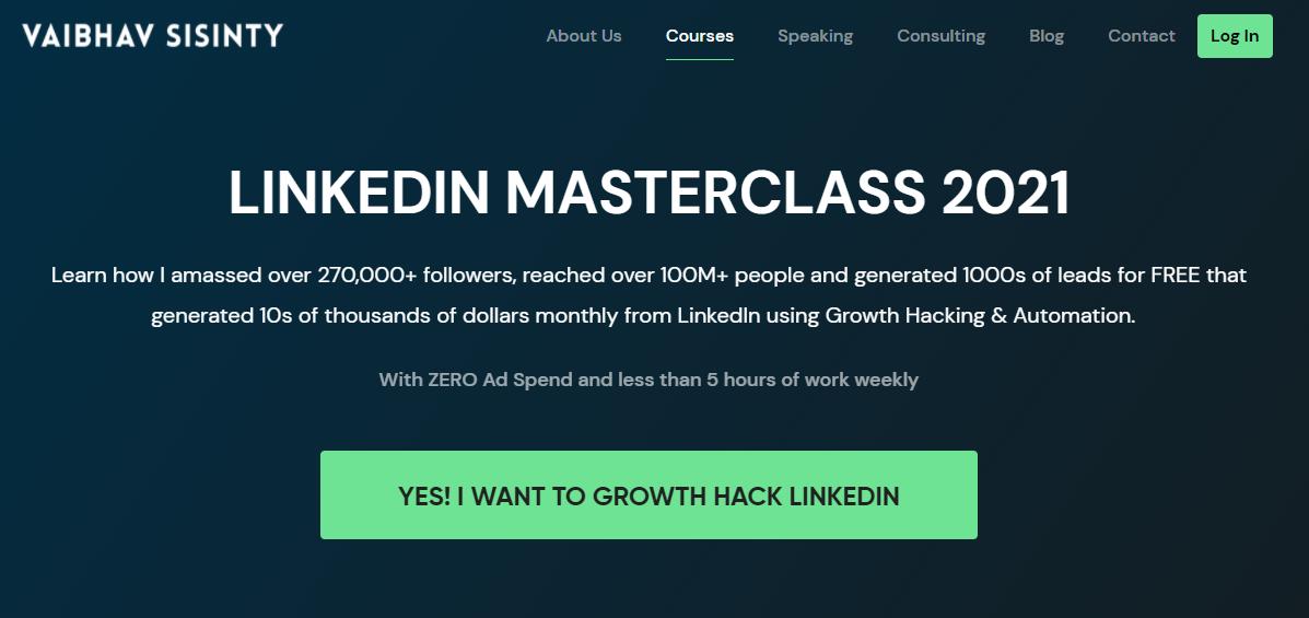 sales copy of Vaibhav sisinty's Linkedin masterclass